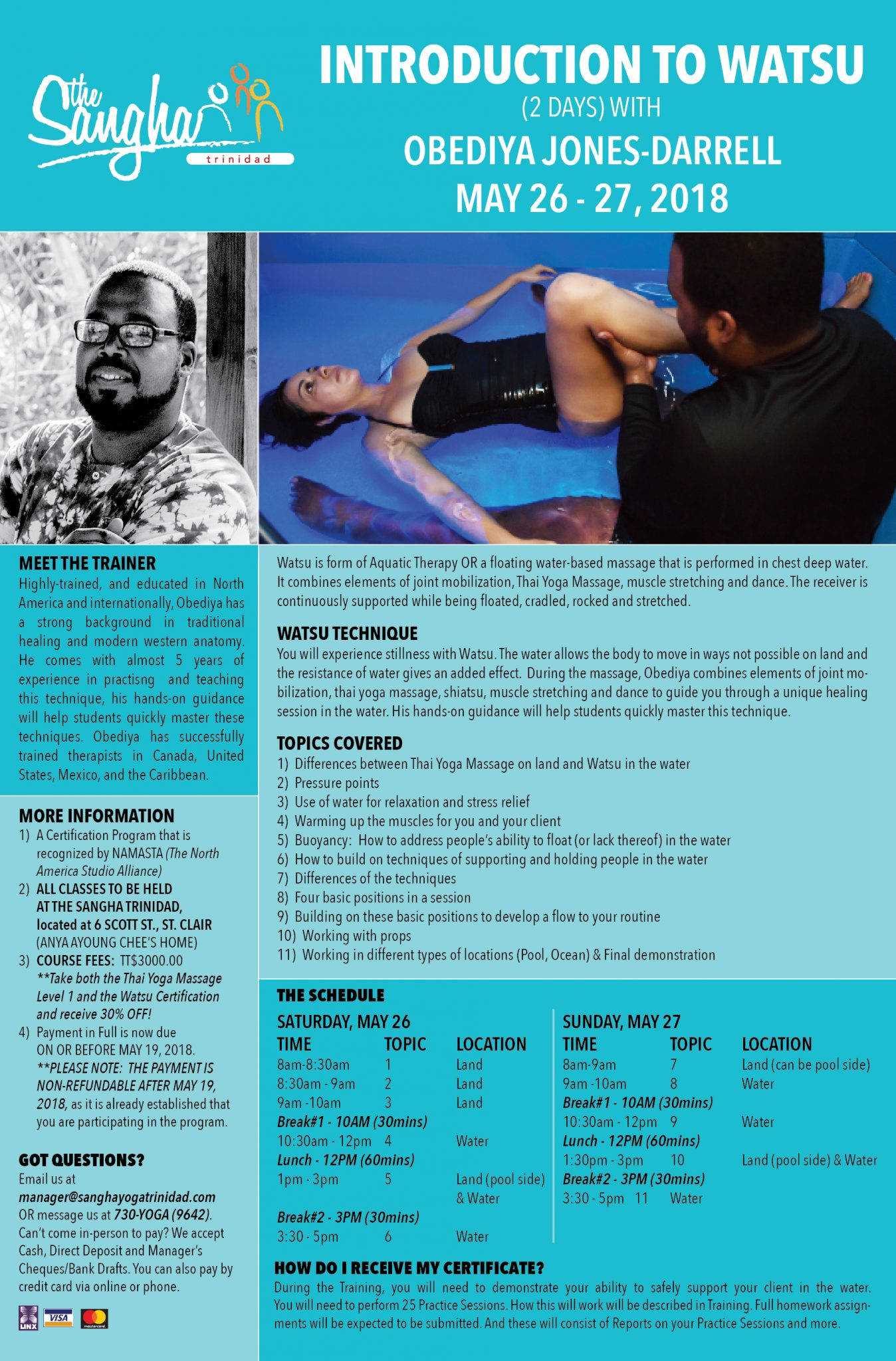 watsu therapy aquatic massage certification typical could looks